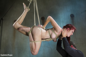 Slim babe gets roped and hung by guy in  - XXX Dessert - Picture 9