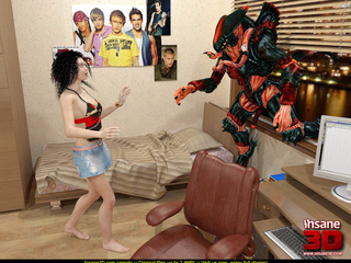 Terrible 3D alien is breaking into a house - Cartoon Sex - Picture 1