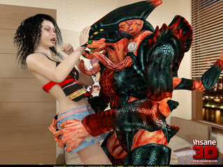 Terrible 3D alien is breaking into a house - Cartoon Sex - Picture 2