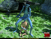 Striped blue female alien with a long tail strikes a soldier in the jungle
