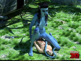 Striped blue female alien with a long tail - Cartoon Sex - Picture 3
