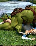 Huge muscular green 3D monster with a sword…