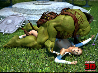 Huge muscular green 3D monster with a sword - Cartoon Sex - Picture 3