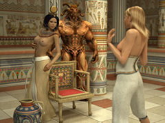 Lustful Pharaoh woman and her angry huge - Cartoon Sex - Picture 1
