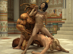 Lustful Pharaoh woman and her angry huge - Cartoon Sex - Picture 3