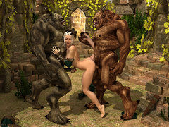 Beautiful Elven getting banged badly by two - Cartoon Sex - Picture 4
