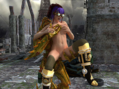Purple-haired busty hunter got humped by a - Cartoon Sex - Picture 3