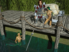 Two green-haired lake nymphos rocking with a - Cartoon Sex - Picture 1