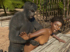 Sexy ebony jungle explorer was humped by a - Cartoon Sex - Picture 4