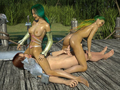 Two green-haired lake nymphos rocking with a - Cartoon Sex - Picture 2