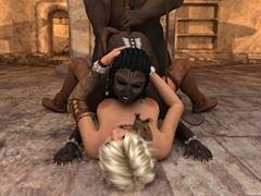 Black minotaur with horns torturing his black - Cartoon Sex - Picture 2