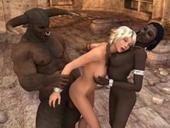 Black minotaur with horns torturing his black - Cartoon Sex - Picture 4