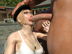 Blonde MILF in glasses and beret getting - Cartoon Sex - Picture 2