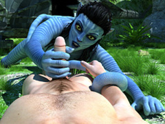 Blue-skinned busty monster Navi with a long - Cartoon Sex - Picture 1