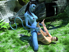 Blue-skinned busty monster Navi with a long - Cartoon Sex - Picture 2