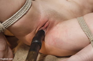 Sweet lass gets roped, pegged on tits an - XXX Dessert - Picture 14