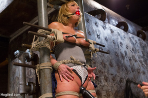 Blonde with big hot tits and butt tied w - XXX Dessert - Picture 1