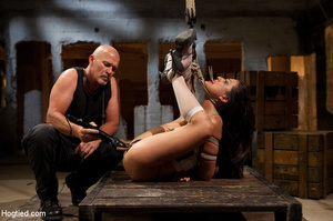 Hot brunette roped and bound sucks cock  - XXX Dessert - Picture 10