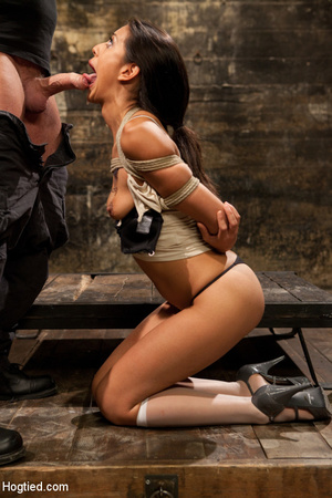 Hot brunette roped and bound sucks cock  - XXX Dessert - Picture 11