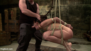 Hot brunette roped and bound sucks cock  - XXX Dessert - Picture 13