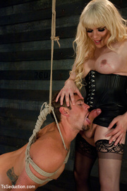 blonde shemale gives tied