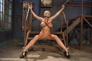 Hot blonde with big tits tied down to su - XXX Dessert - Picture 7