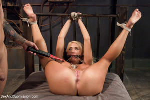 Hot blonde with big tits tied down to su - XXX Dessert - Picture 12