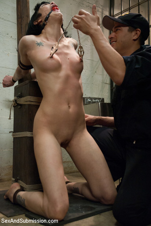 Sexy star babe in cage made to suck cock - XXX Dessert - Picture 7
