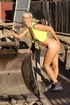 Slim cute blonde at dump site shows off spicy hot…