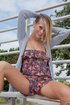 Hot blondie in a floral combo doing acrobatic…