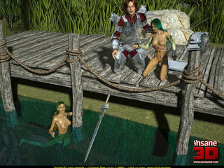 Two 3d green-haired nymphs pleasing a knight - Cartoon Sex - Picture 1