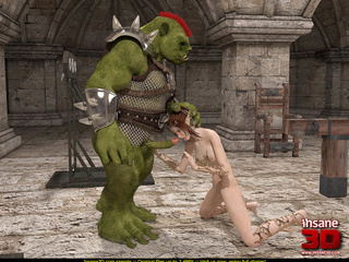 Horny green orc in armor handling ponytailed - Cartoon Sex - Picture 1
