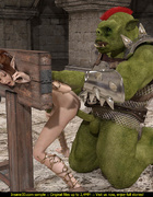 Horny green orc in armor handling ponytailed fairy…