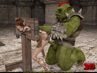 Horny green orc in armor handling ponytailed - Cartoon Sex - Picture 4
