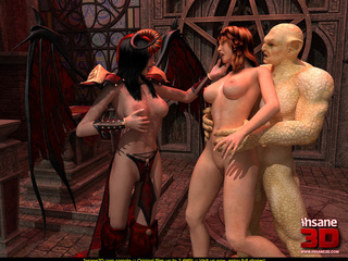Horny demoness with horns and whip and her - Cartoon Sex - Picture 2