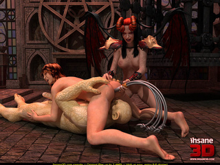 Horny demoness with horns and whip and her - Cartoon Sex - Picture 4