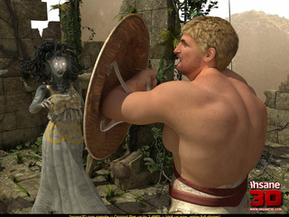 Blonde dude forcing Gorgon sucking his huge - Cartoon Sex - Picture 1