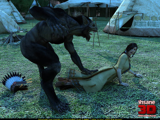 Angry werewolf fucking badly a cute Indian - Cartoon Sex - Picture 2