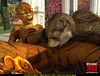 Hot fucking scene of 3D toon tiger-woman and bear-man