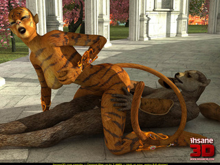 Hot fucking scene of 3D toon tiger-woman and - Cartoon Sex - Picture 4