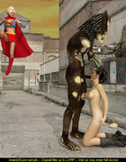 Ugly monster having fun with Supergirl and her…