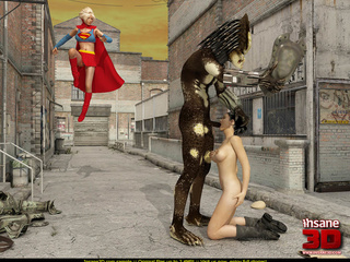 Ugly monster having fun with Supergirl and - Cartoon Sex - Picture 2