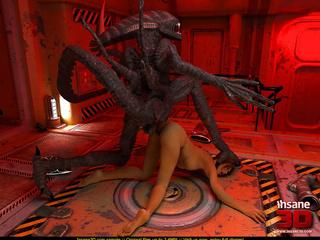 3D Alien attacks busty brunette space-woman - Cartoon Sex - Picture 4