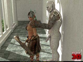 Horny stone golem drilling cute blonde chick - Cartoon Sex - Picture 1