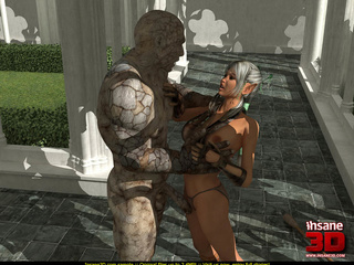 Horny stone golem drilling cute blonde chick - Cartoon Sex - Picture 2