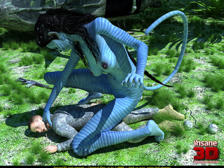 Big female blue striped creature with a tail - Cartoon Sex - Picture 1