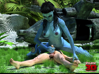 Big female blue striped creature with a tail - Cartoon Sex - Picture 2