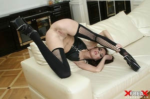 Tall long hair damsel works cock on sofa and rides it cowgirl style for cum - XXXonXXX - Pic 9