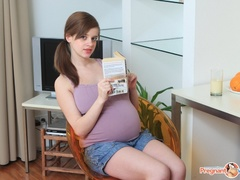 Young pregnant sexy chick feeling horny strips - XXXonXXX - Pic 1