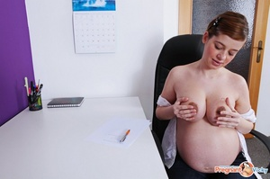 Sexy pregnant young girl feeling naughty in office strips nude to finger pussy - XXXonXXX - Pic 4